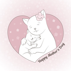 Vector illustration for mother's day. A cat and a kitten are hugging. Cute picture. Perfectly suitable for decoration of postcard, invitation, banner. Background of flowers.