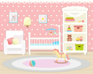 Baby room interior. Flat design.