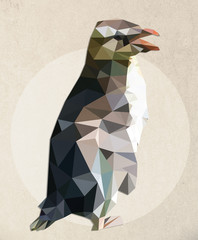 Illustration of a penguin - low poly graphic style
