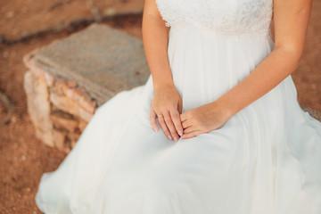 Female hands close up outdoor. Wedding in Montenegro