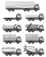 Set of various silver trucks