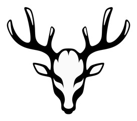 Stylized head of a black deer front view