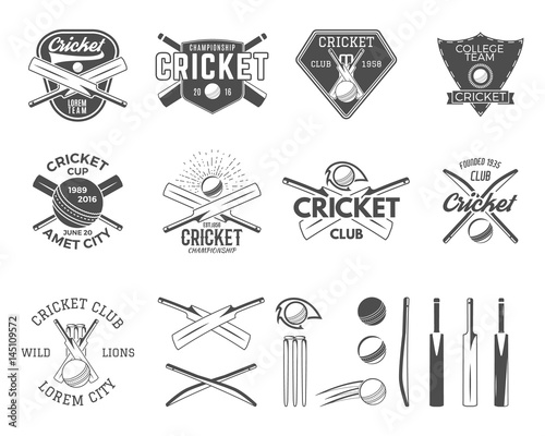 Set of cricket sports logo templates. Cricketer emblems and gear ...