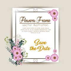 floral frame decorative icon vector illustration design