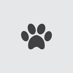 Animal paw icon in a flat design in black color. Vector illustration eps10