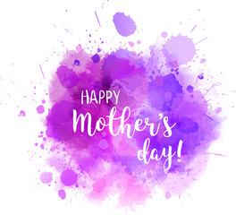 "Abstract watercolor purple blot with ""Happy mother's day"" calligraphy message."