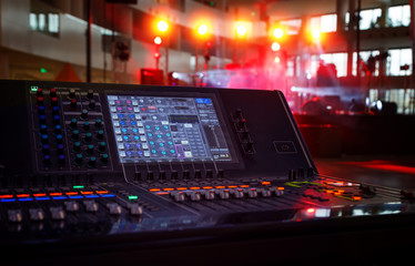 Working sound panel on background of the concert stage
