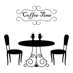 "Black shapes of coffee table and two chairs on a white background. There are also cups of coffee and text ""Coffee time"" in the picture. Vector illustration."
