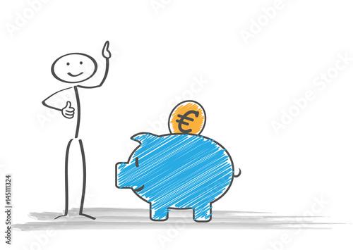 Sparschwein Strichmännchen Euro Münze Stockfotos Und