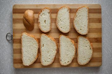 white bread on a cutting board