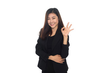 Business woman show ok gesture on white background.