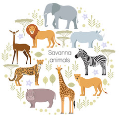 African animals elephant, rhino, giraffe, cheetah, zebra lion hippo isolated Savanna Vector illustration
