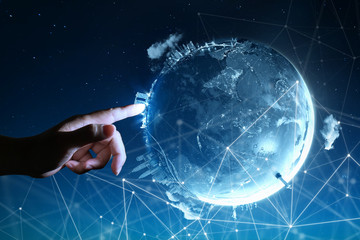Man touching Abstract global with wireless communication network on space background , abstract image visual, internet of things Wall mural