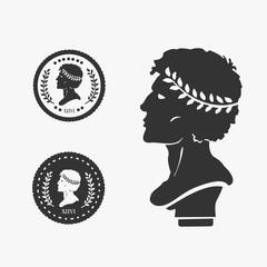 Fototapeta Greek Profile Coin Vector Illustration obraz