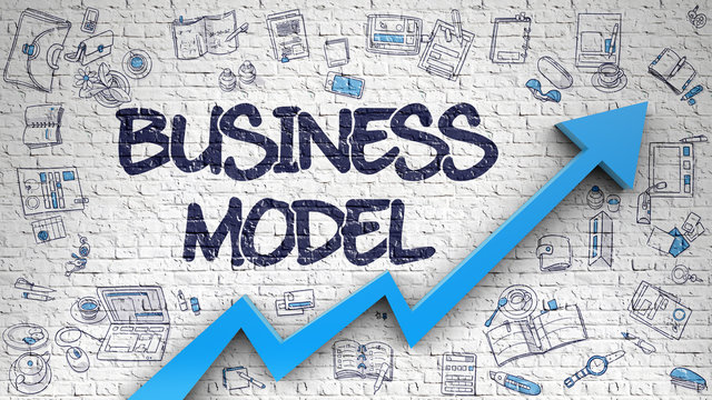 Business Model Inscription on Modern Style Illustation. with Blue Arrow and Doodle Design Icons Around. Business Model - Improvement Concept. Inscription on the Brick Wall with Doodle Icons Around. 3d