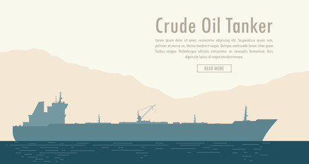 Oil tanker near the shore with mountain range. Vector illustration