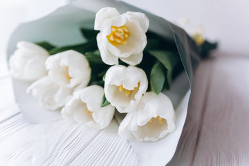 Mother's Day . white tulips on white wooden background