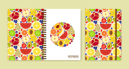 Cover design for notebooks or scrapbooks with many fruits