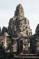 Ruins and ancient temples in Angkor Wat.