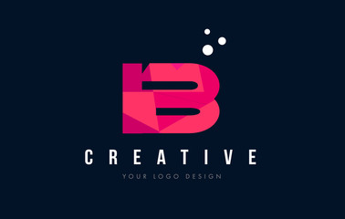 IB I B Letter Logo with Purple Low Poly Pink Triangles Concept