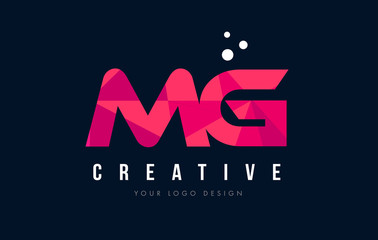 Fototapeta MG M G Letter Logo with Purple Low Poly Pink Triangles Concept obraz