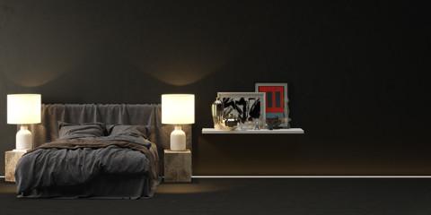 bed in front of dark wall with shelf - bed vor schwarzer wand mit regal