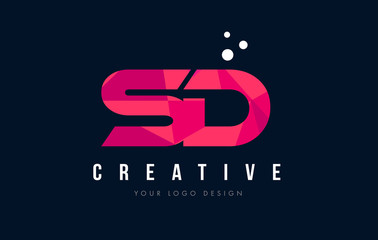 SD S D Letter Logo with Purple Low Poly Pink Triangles Concept