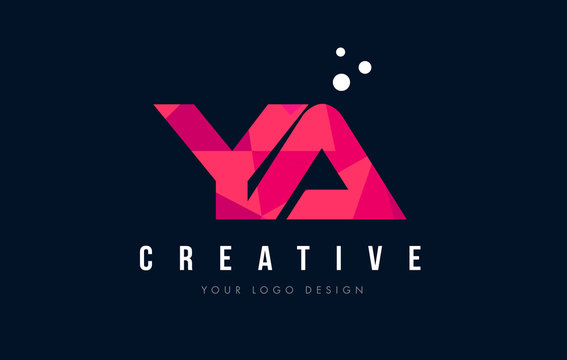 YA Y A Letter Logo with Purple Low Poly Pink Triangles Concept