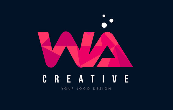 WA W A Letter Logo with Purple Low Poly Pink Triangles Concept