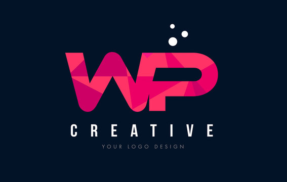 WP W P Letter Logo with Purple Low Poly Pink Triangles Concept