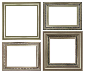 scollection of vintage silver and wood picture frame, isolated on white