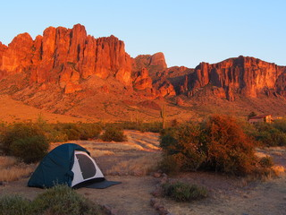 Camping at sunset the Lost Dutchman State park. Tonto National Forest, Arizona