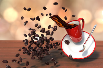 3D rendering shot of levitation red coffee cup with Scattered coffee beans on a wooden table with warm bokeh background.