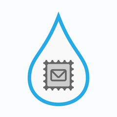 Isolated water drop with  a mail stamp sign