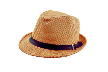 pretty straw hat isolated on white background