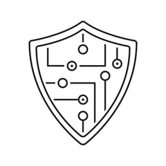 Protection shield linear icon
