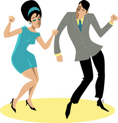 Wall Mural - EPS 8 vector illustration of a stylish couple dressed in 1960s fashion dancing the Twist, no transparencies