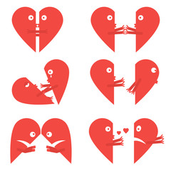 Set cute cartoon emoticon two halves hearts. Happy, sad, break up, love, break up, divorce, kisses, embrace. Flat style of vector isolated illustration hearts. Drawing male and female icons hearts.