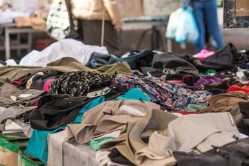Used clothes at local market, Catania. Piazza Carlo Alberto
