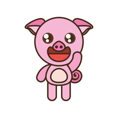 cute pig toy kawaii image vector illustration eps 10