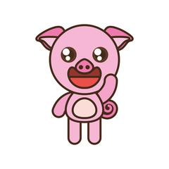 cute pig toy kawaii image vector illustration eps 10