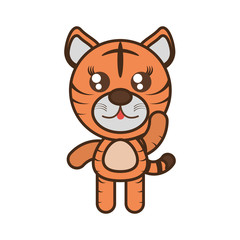 cute tiger toy kawaii image vector illustration eps 10