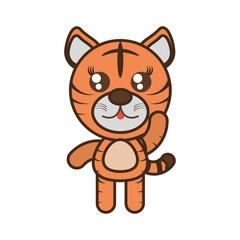 cute tiger toy kawaii image vector illustration eps 10