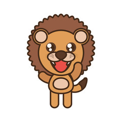 cute lion toy kawaii image vector illustration eps 10