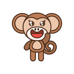 cute monkey toy kawaii image vector illustration eps 10