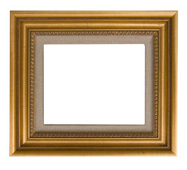 Distressed gold frame with linen liner isolated on white
