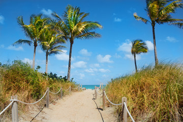 Beautiful ocean and beach landscape on a sunny spring day. Pathway to the beach.South Beach, Miami, Florida, USA