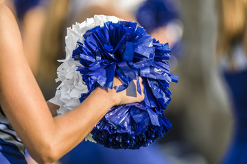 Cheerleader holding pom poms with a shallow depth of field