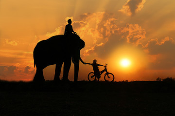 Asian Family Father and son with An elephant silhouette in Thailand.