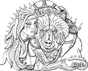 Раскраска для взрослых девушка воин и боевой медведь векторное изображение в стиле фэнтези.